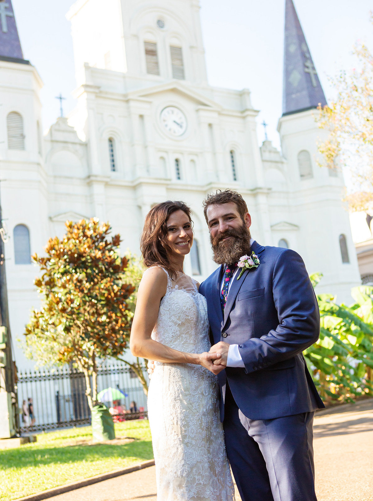 destination wedding in front of the St. Louis Cathedral