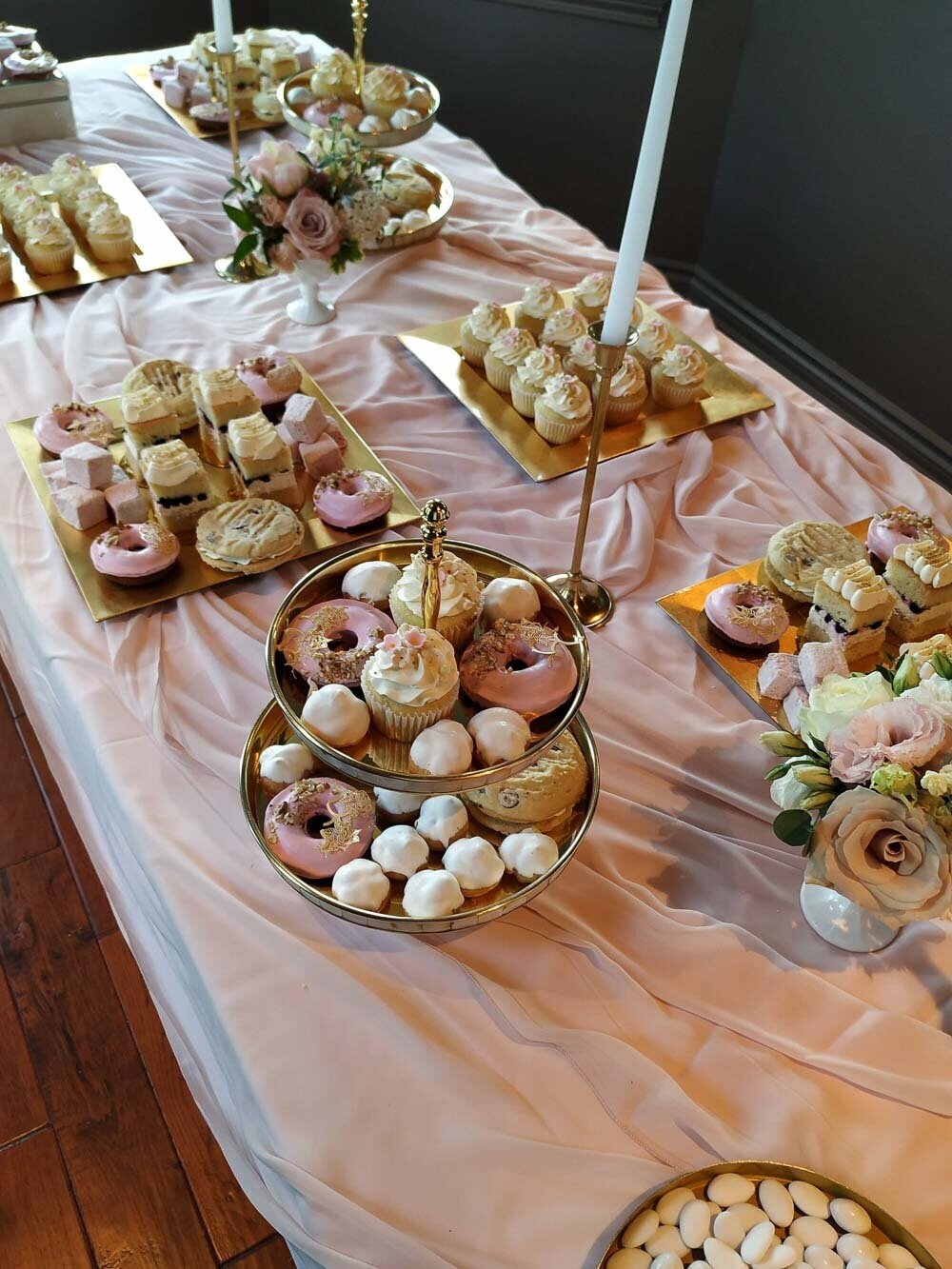 pink sweets table, first communion sweets table, Edgewater Manor wedding