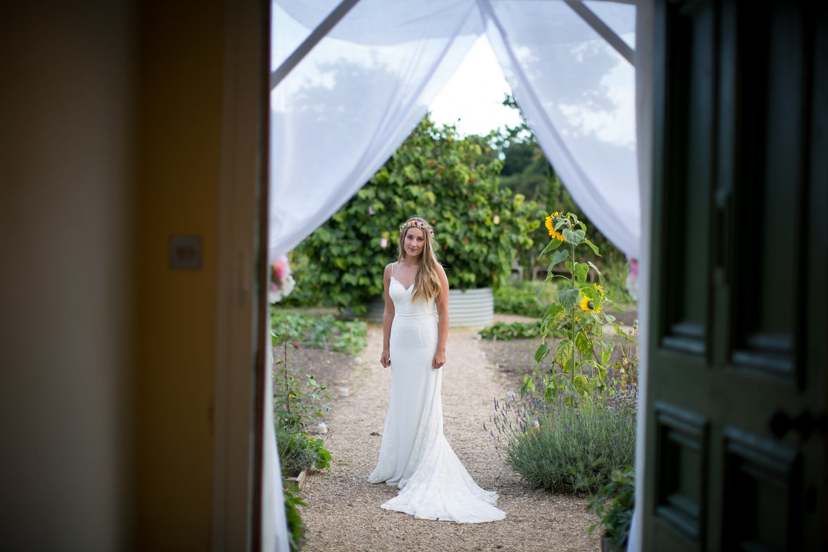 brides portrait at river cottage wedding devon