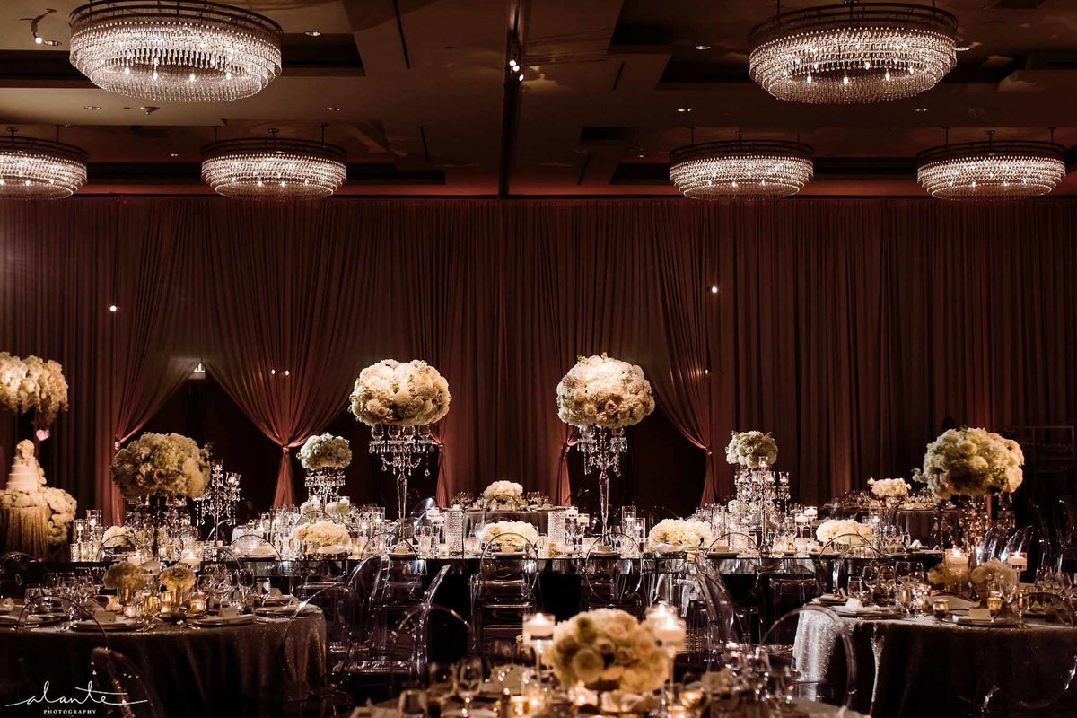Romantic winter wedding reception with all white classic rounded floral.