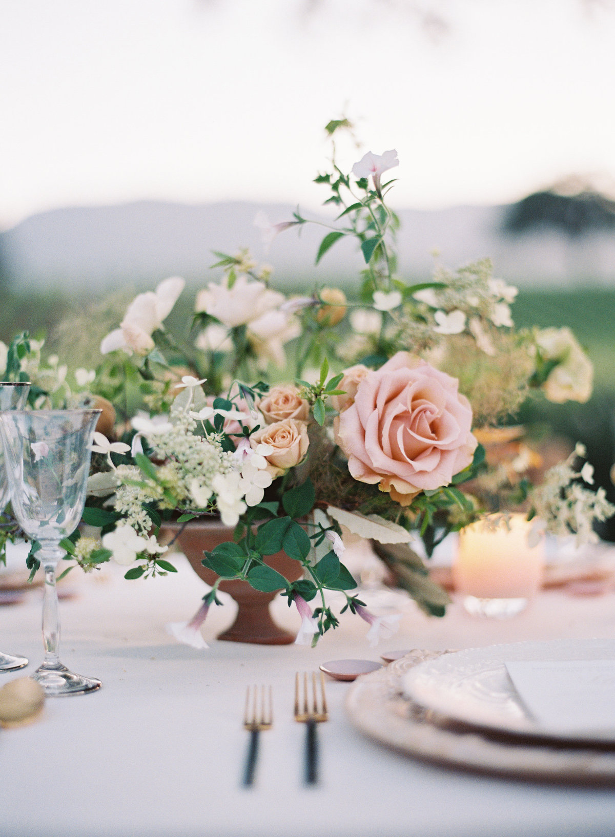 Flowers for wedding by Jenny Schneider Events in Napa Valley, California. Photo by Eric Kelley Photography.