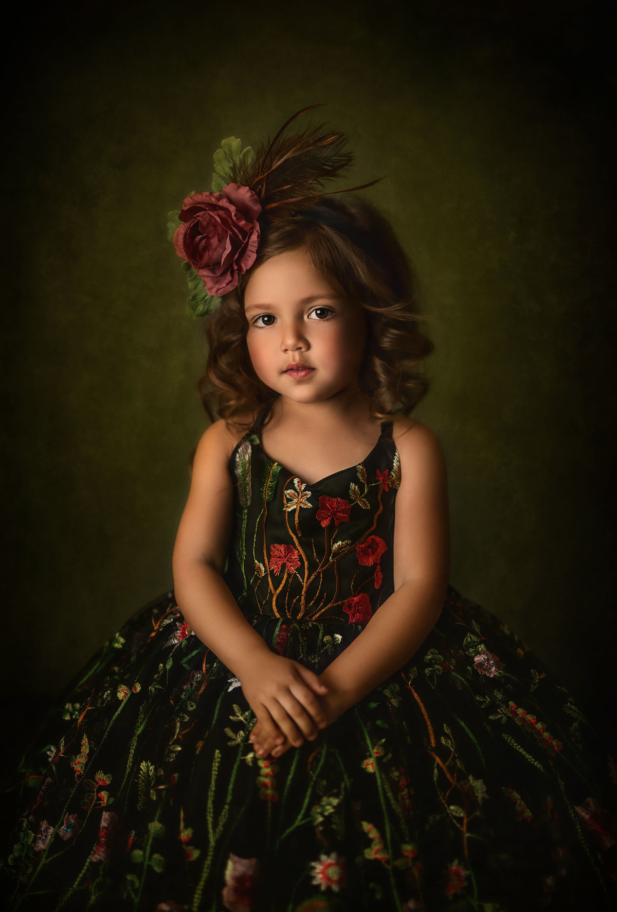 Toddler Girl-Fine Art-Floral Gown-DFW Texas