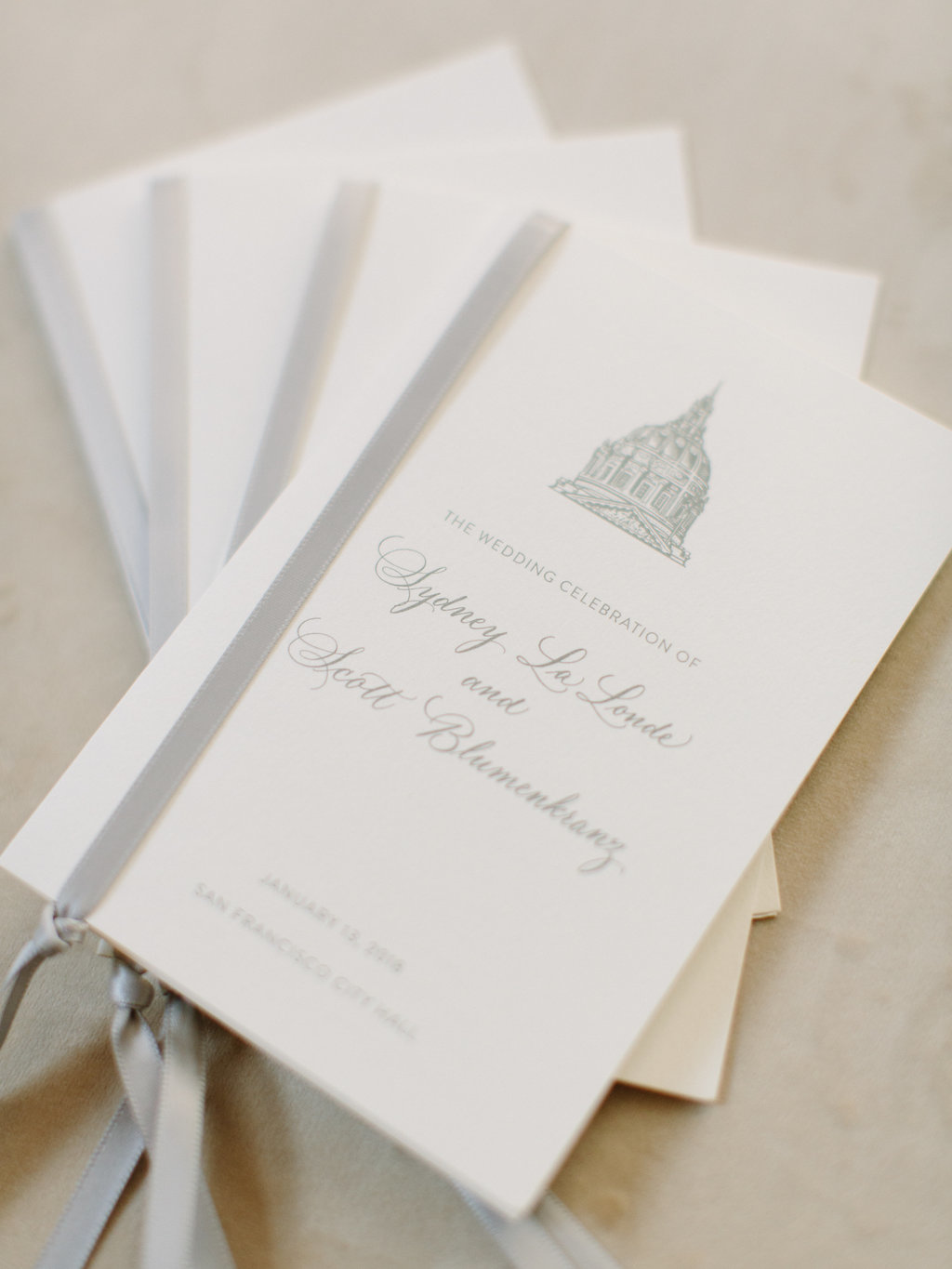 Program for wedding by Jenny Schneider Events at the San Francisco City Hall. Photo by Larissa Cleveland Photography.