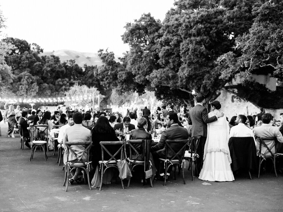 black and white reception photo at holman ranch