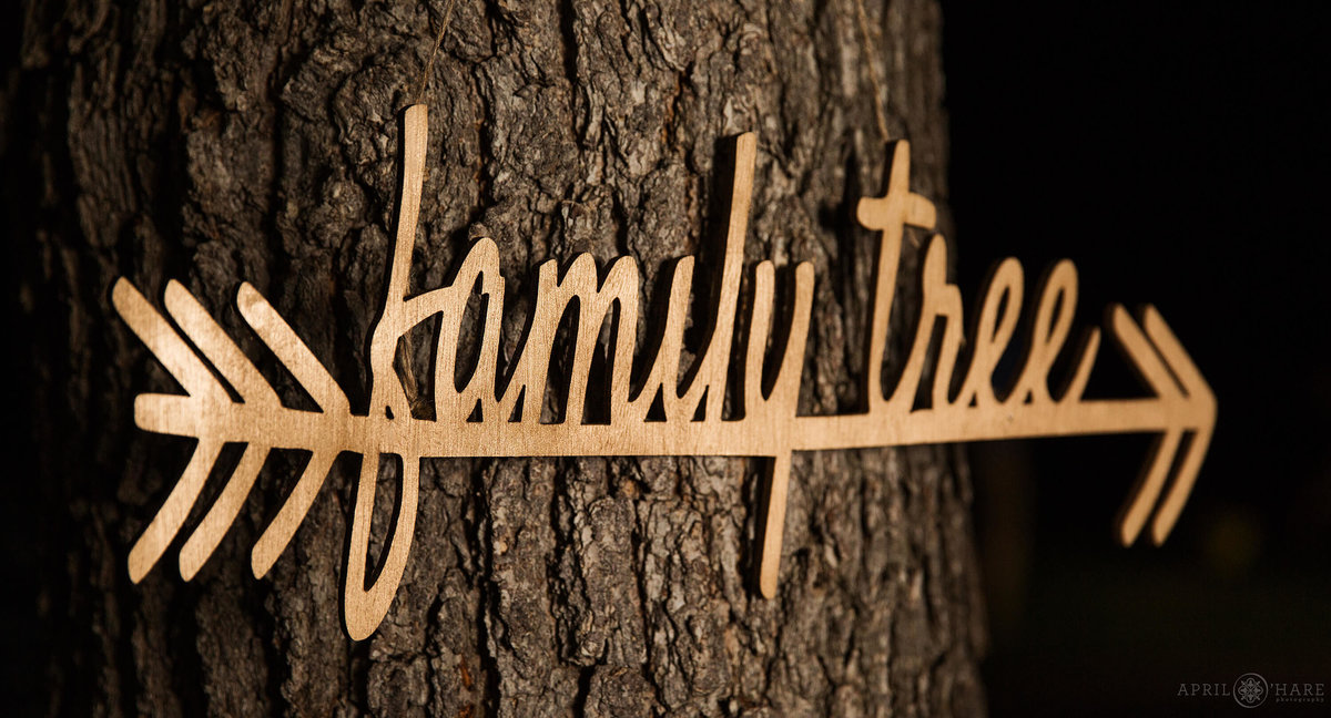 Colorado wedding photographer focus on details custom wood laser cut signage at Chatfield Farms Denver Botanic Gardens