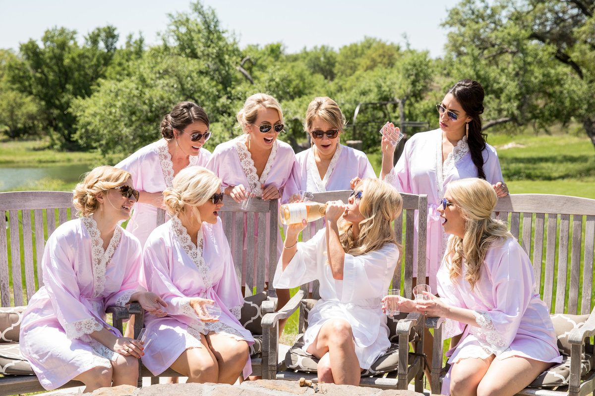 Ma maison wedding photographer bride drinks bridesmaids cheer natural light 2550 Bell Springs Rd, Dripping Springs, TX 78620