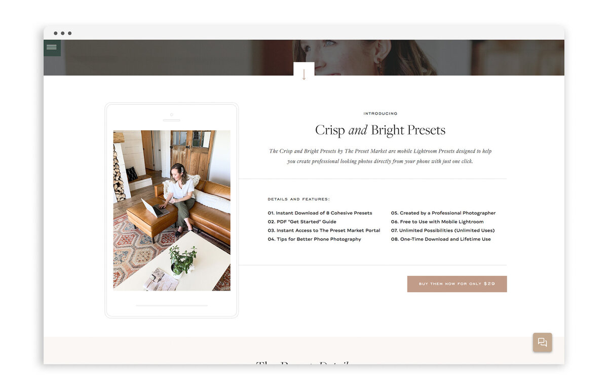 The Preset Market - Custom Brand and Showit Website Design by With Grace and Gold - 6