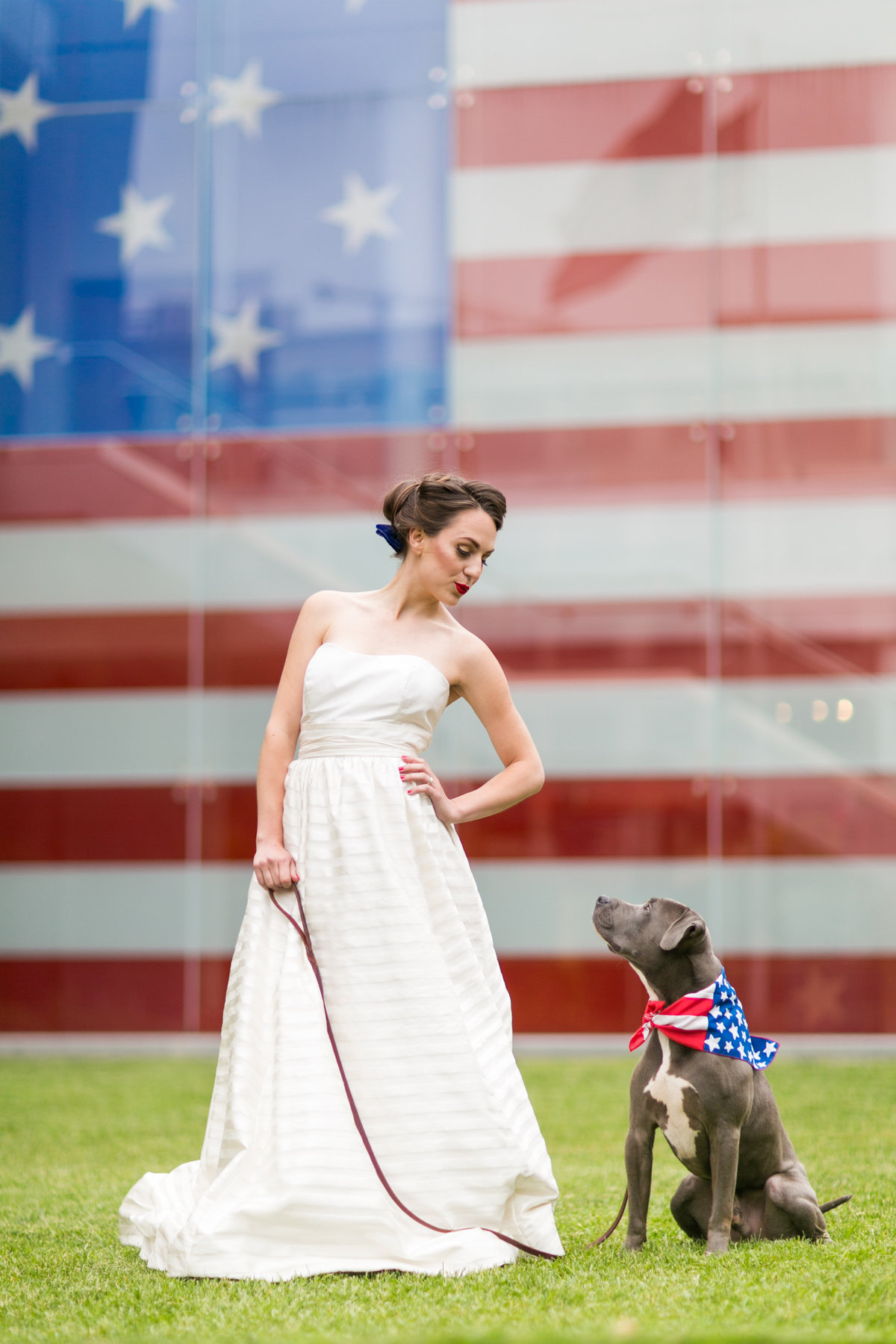 Baltimore Flag museum wedding with a blue pit bull