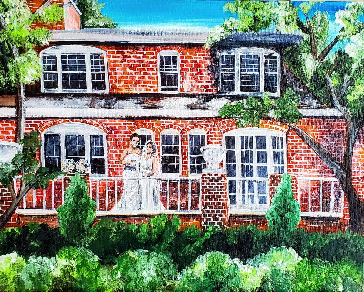 Live wedding painting of two brides outside their venue at Rockwood Manor in Potomac Maryland