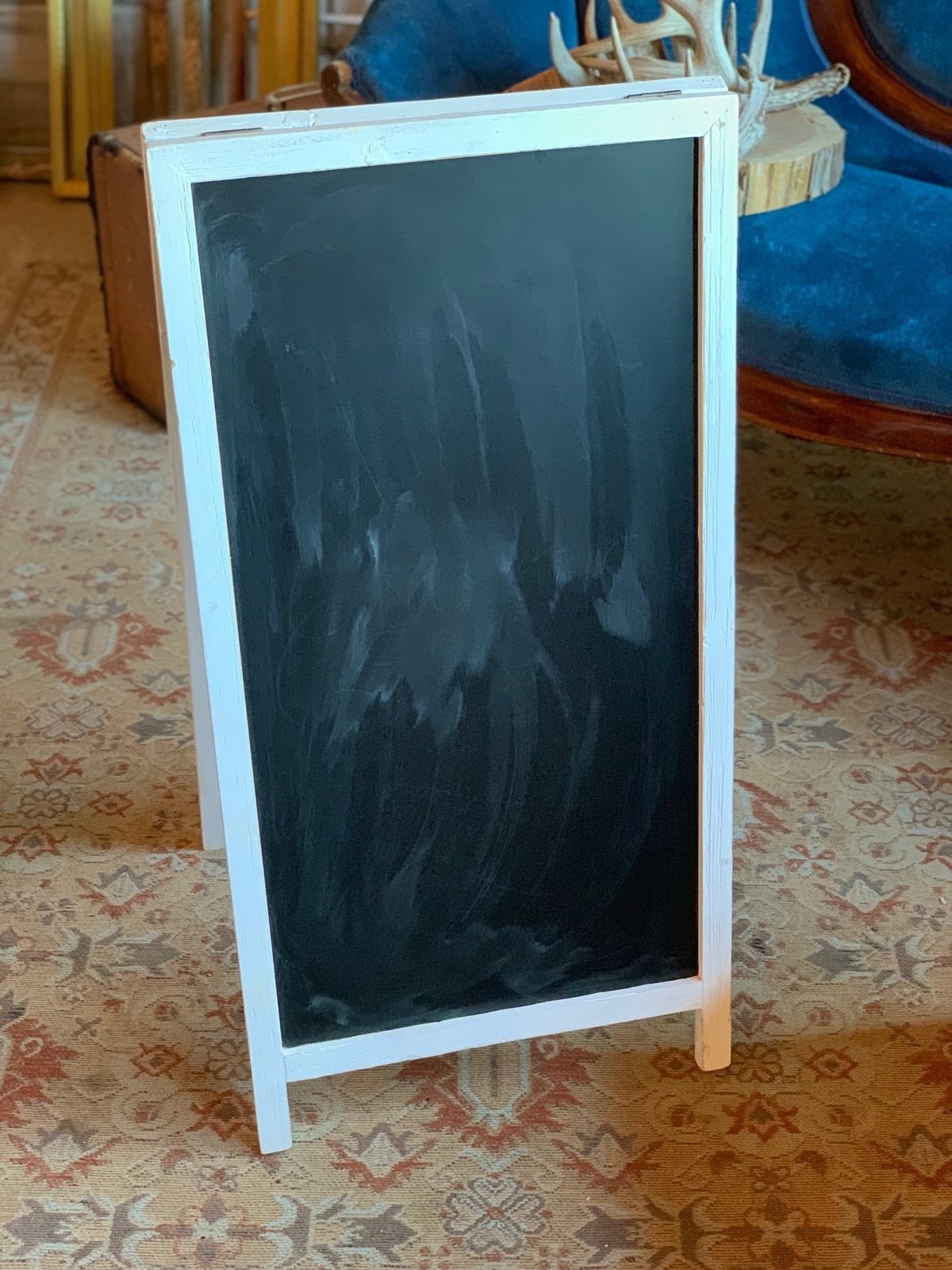 white stand chalkboard