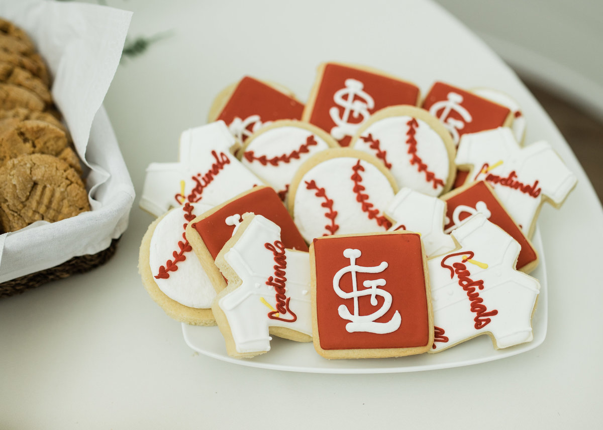 wedding cookies for groom who loves baseball / Katie Childs Photo