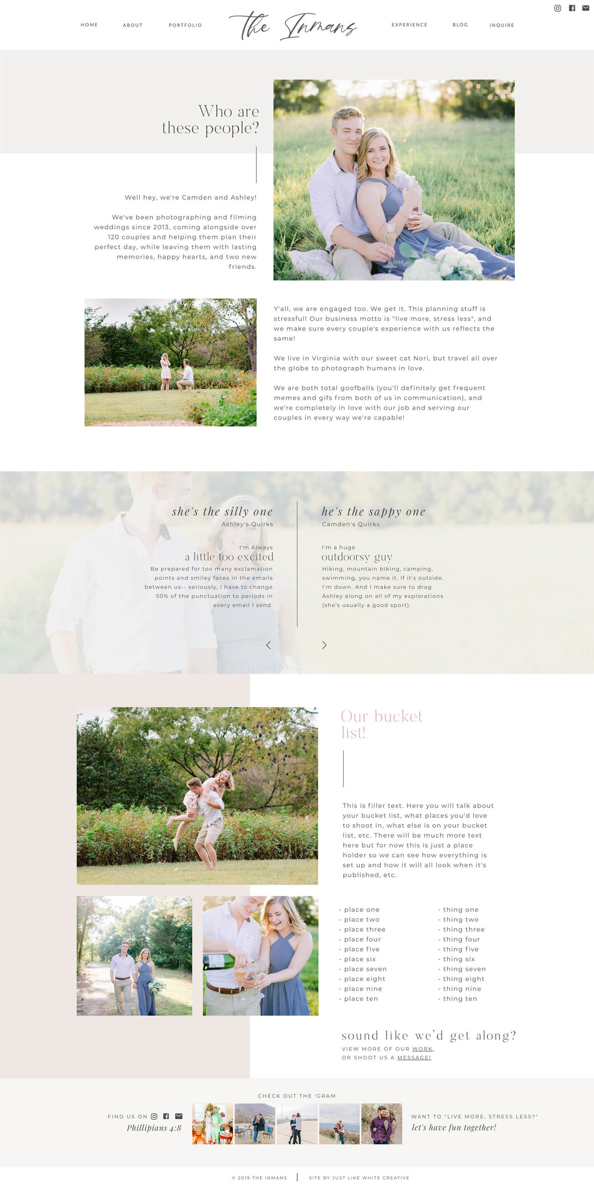 Feminine Photography website design  by Tribble Design Co.