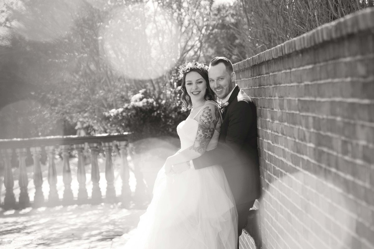 Bride and groom black and white photo at The Inn at New Hyde Park