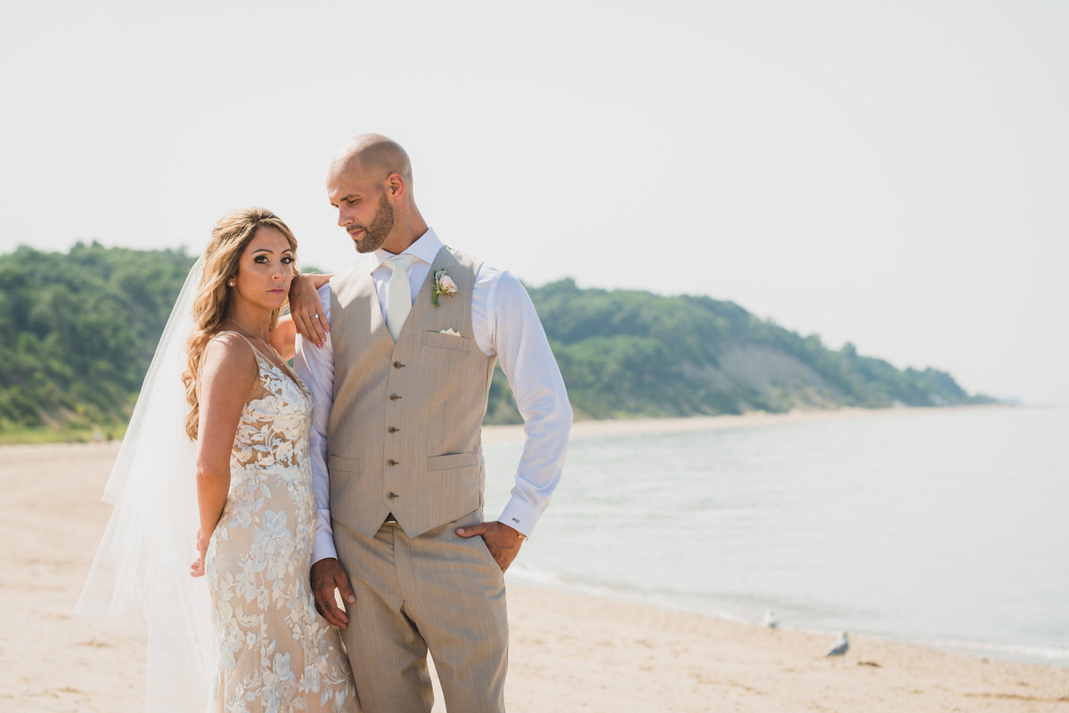 photo of bride and groom on the beach from wedding at Pavilion at Sunken Meadow