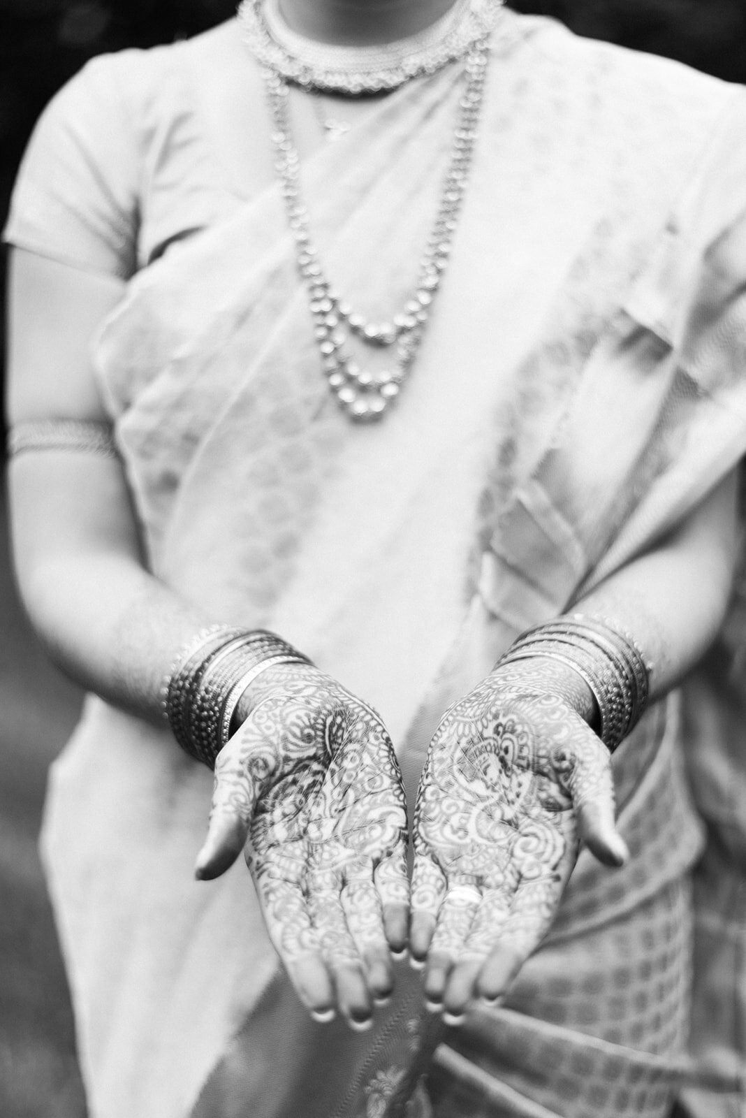 Beautiful henna painted on a brides hands