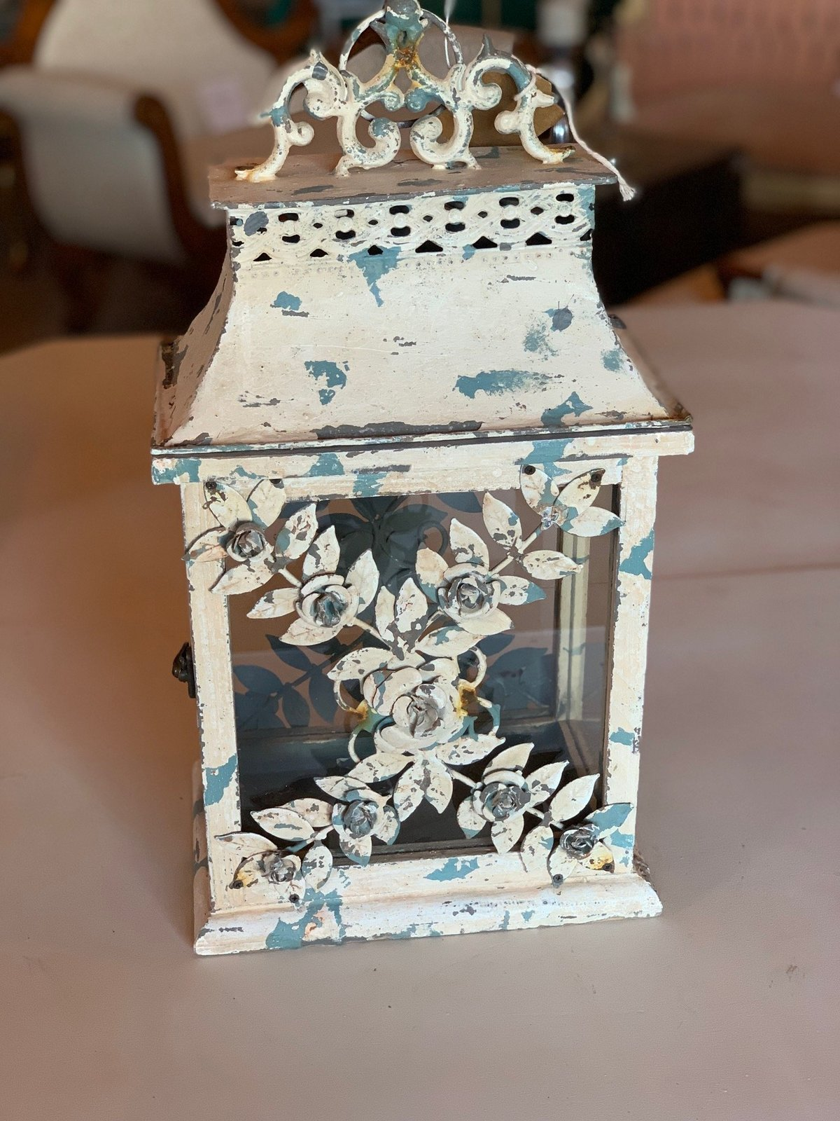 white distressed lantern