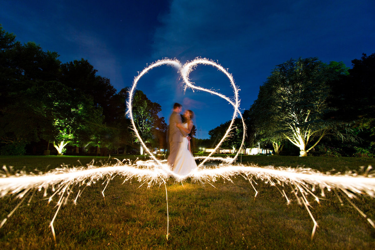 Sparkler heart wedding photos