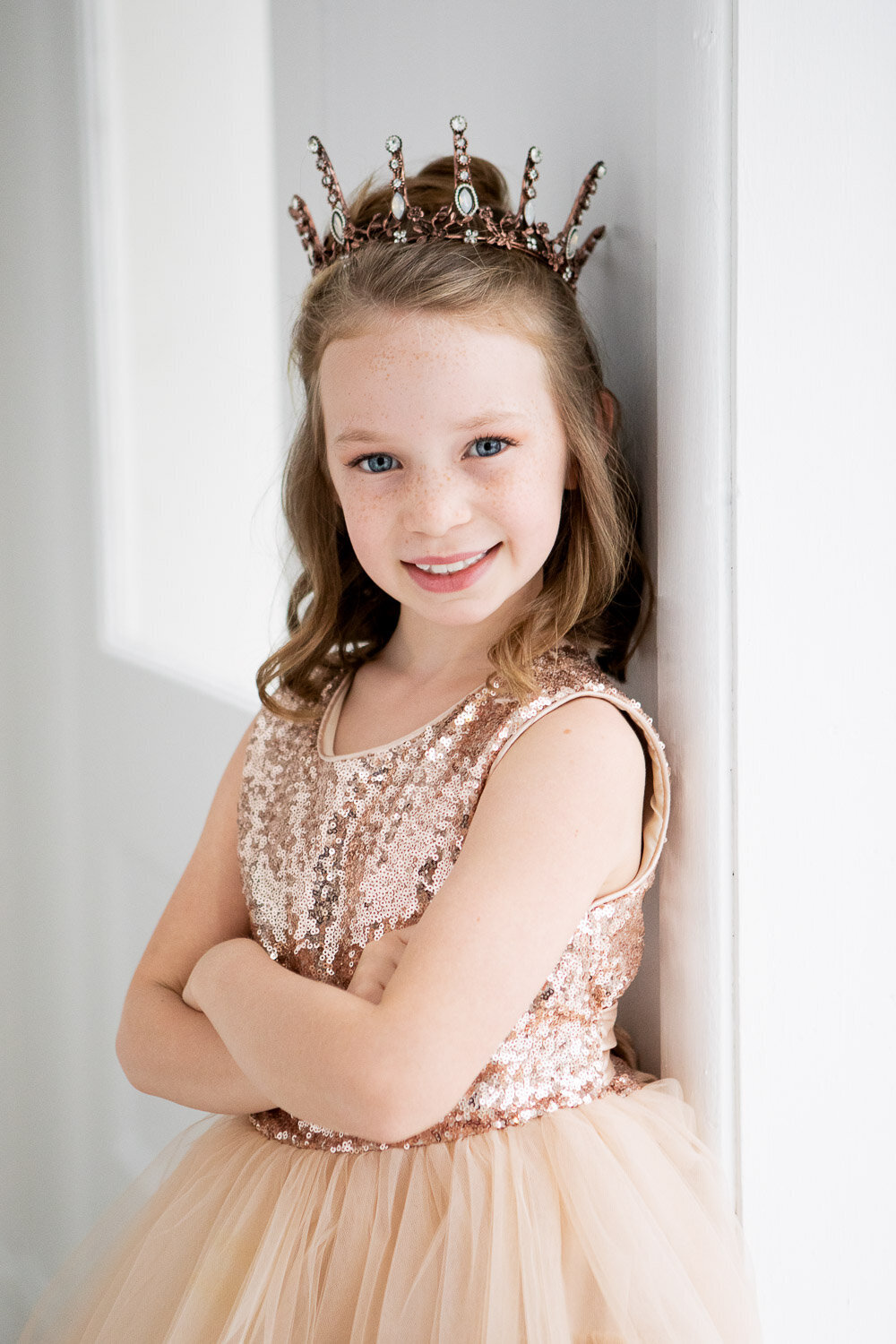 Professional little beauty portrait of girl with tiara in Buffalo, New York