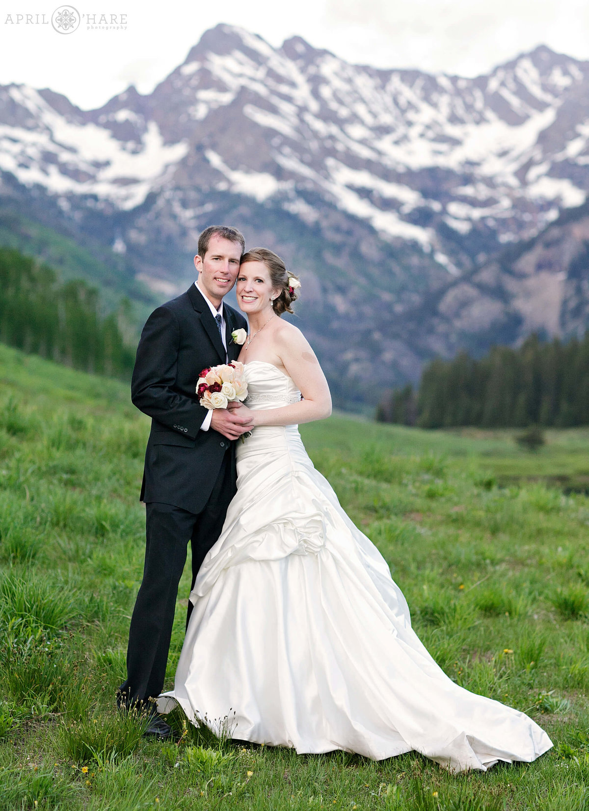 Vail Wedding Photographer Mountain Backdrop at Piney River Ranch