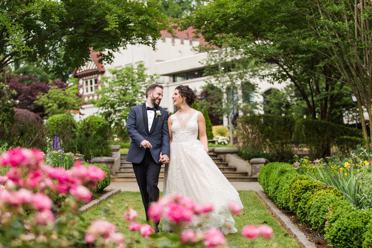 bride and groom at callanwolde fine arts center garden wedding