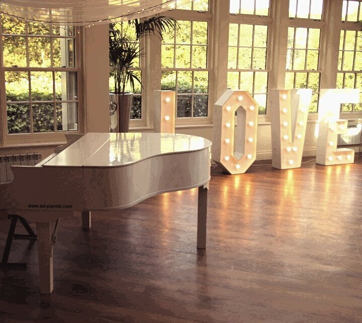 white baby grand piano wedding pianist love letters mitton hall