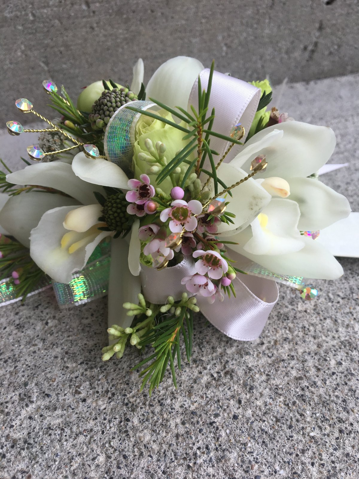 Cymbidium white slap band corsage