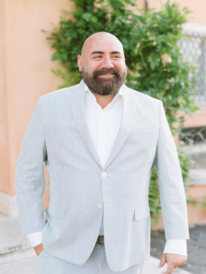 groom portrait at villa di fiorano wedding