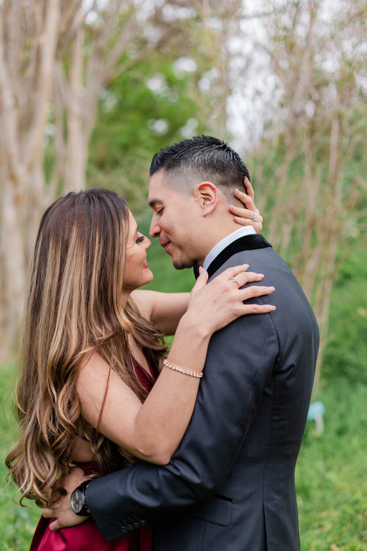UC Riverside Botanical Gardens, Engagement Photography, Riverside Phototgrapher, Garden Engagement, Couple Photography, Red Dress-10