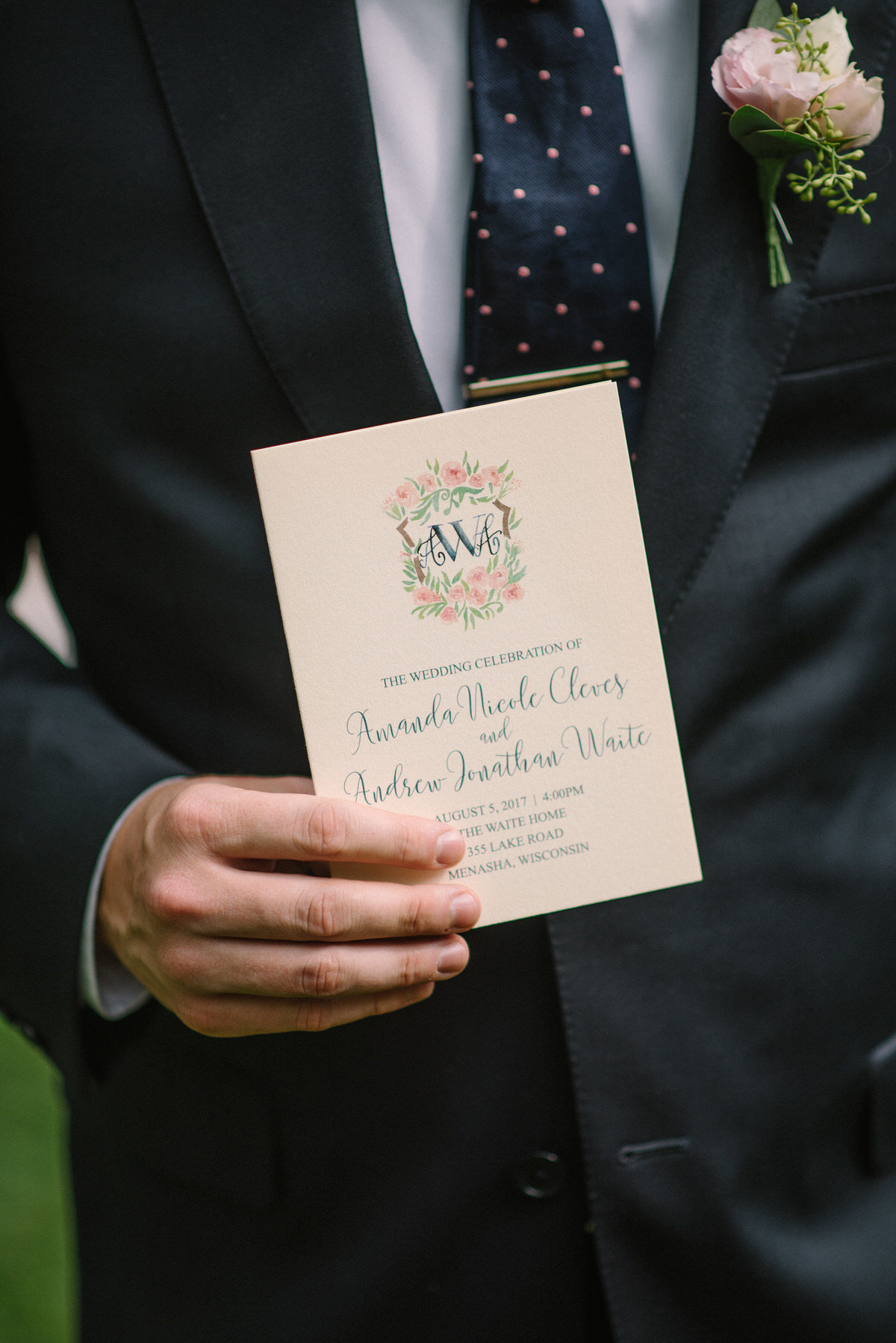 ceremony program, watercolor stationery