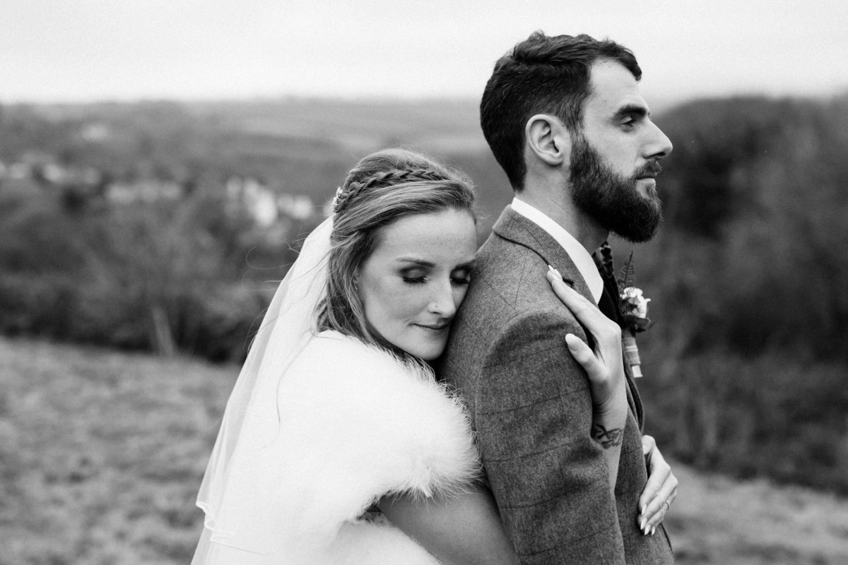 Black and white wedding photo at The Green in Cornwall_