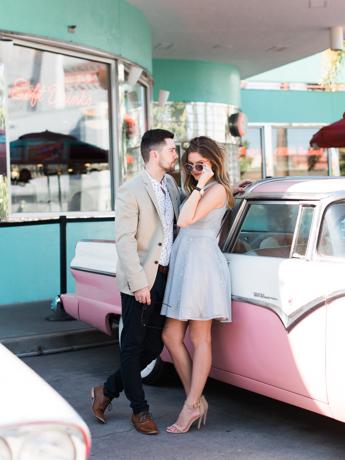 Pink Cadillac Orlando engagement photos