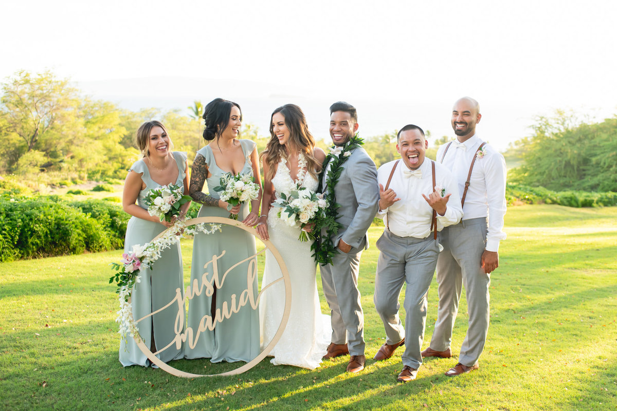 Maui wedding photography - wedding party