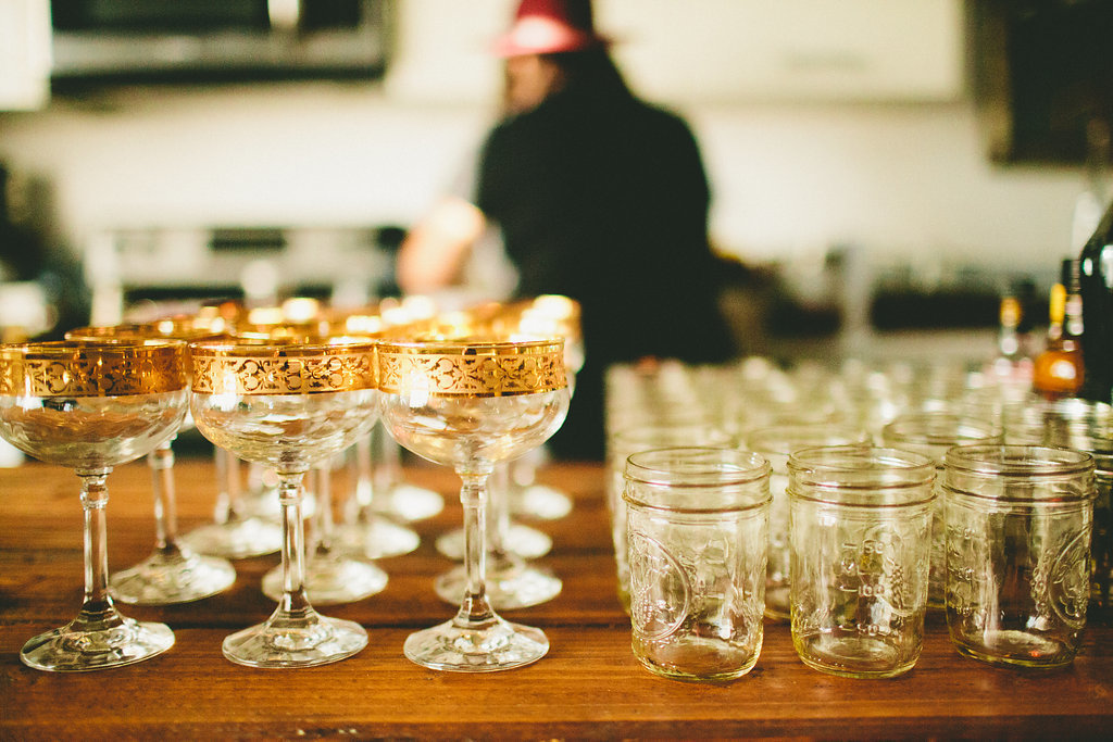 vintage gold rimmed goblets for dinner party with Local Table