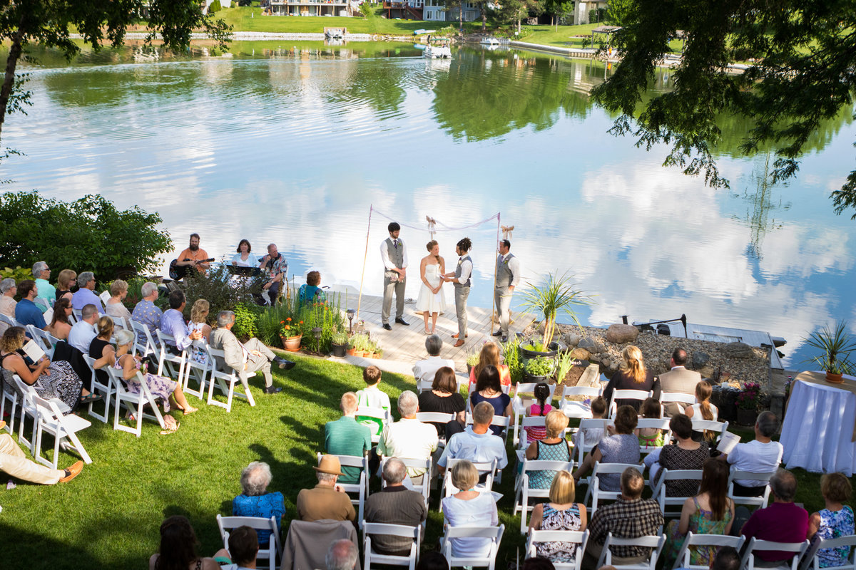 Outdoor ceremony by lake