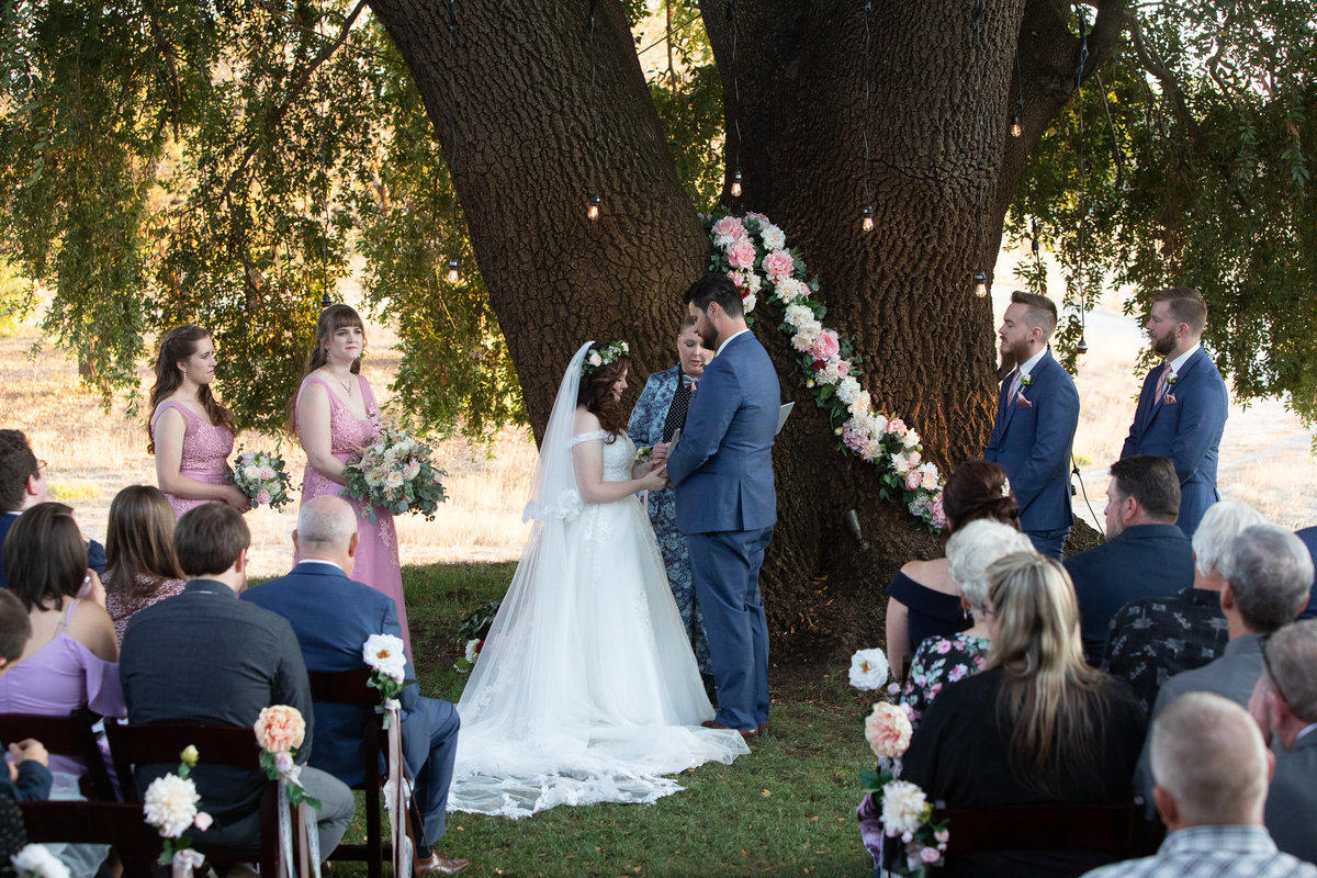 ceremony under oak trees