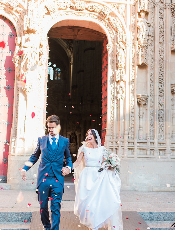 Exit petals photo Salamanca wedding for Martha Stewart Weddings