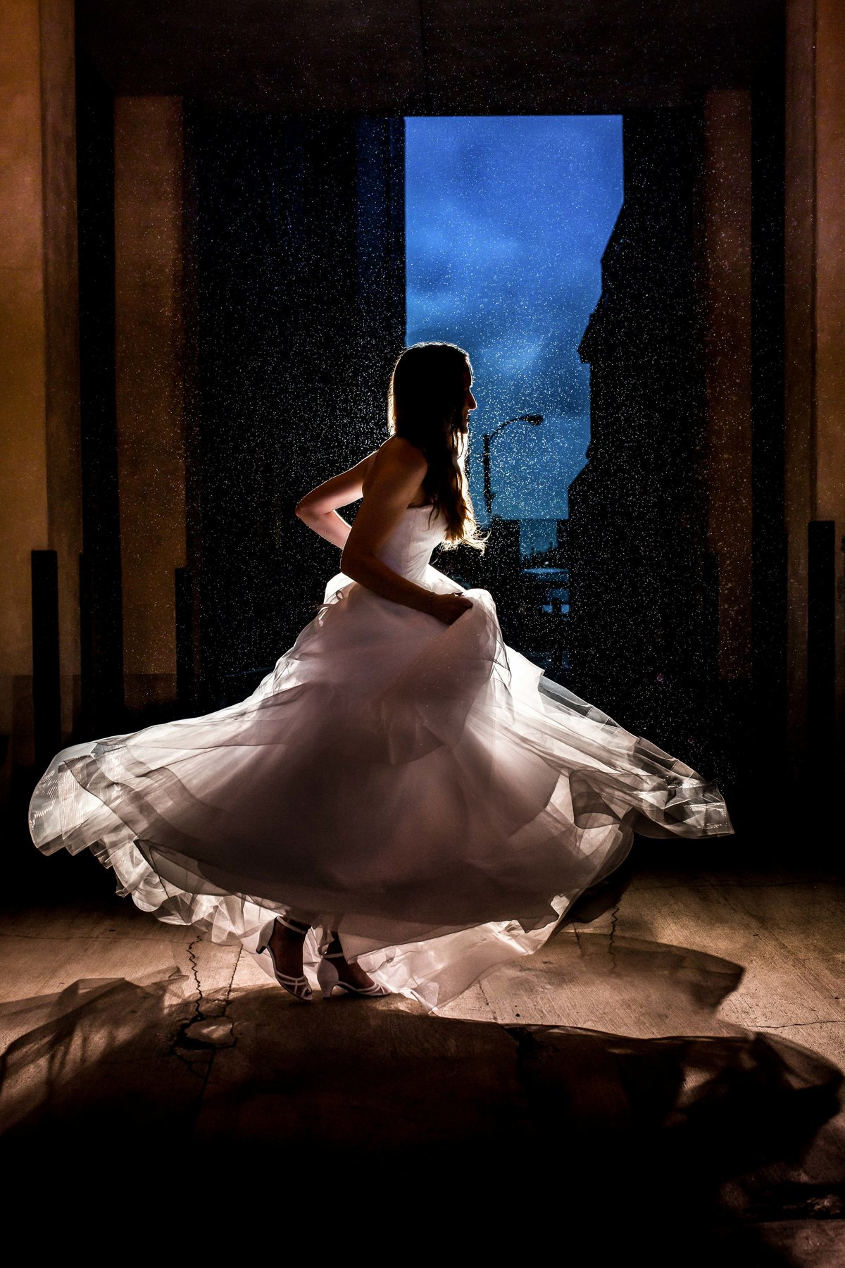 night portrait bride spinning