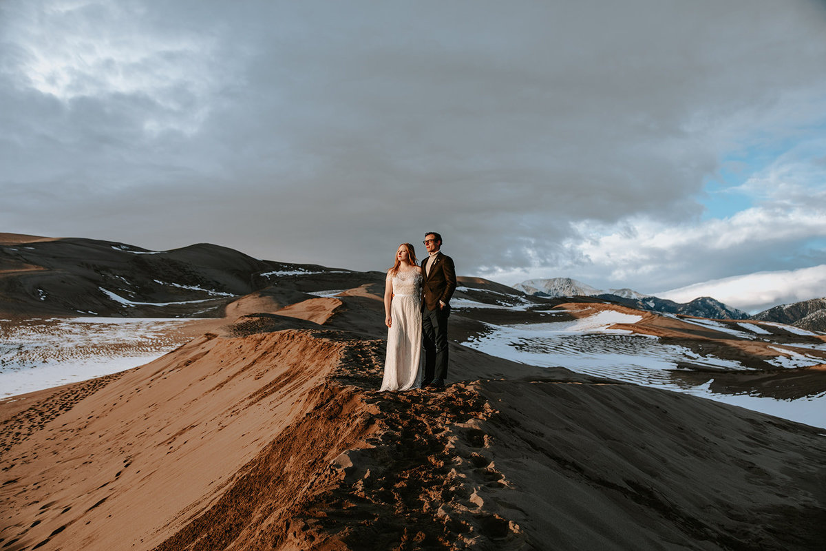 wedding couple elopement in Great Sand Dunes National Park Colorado