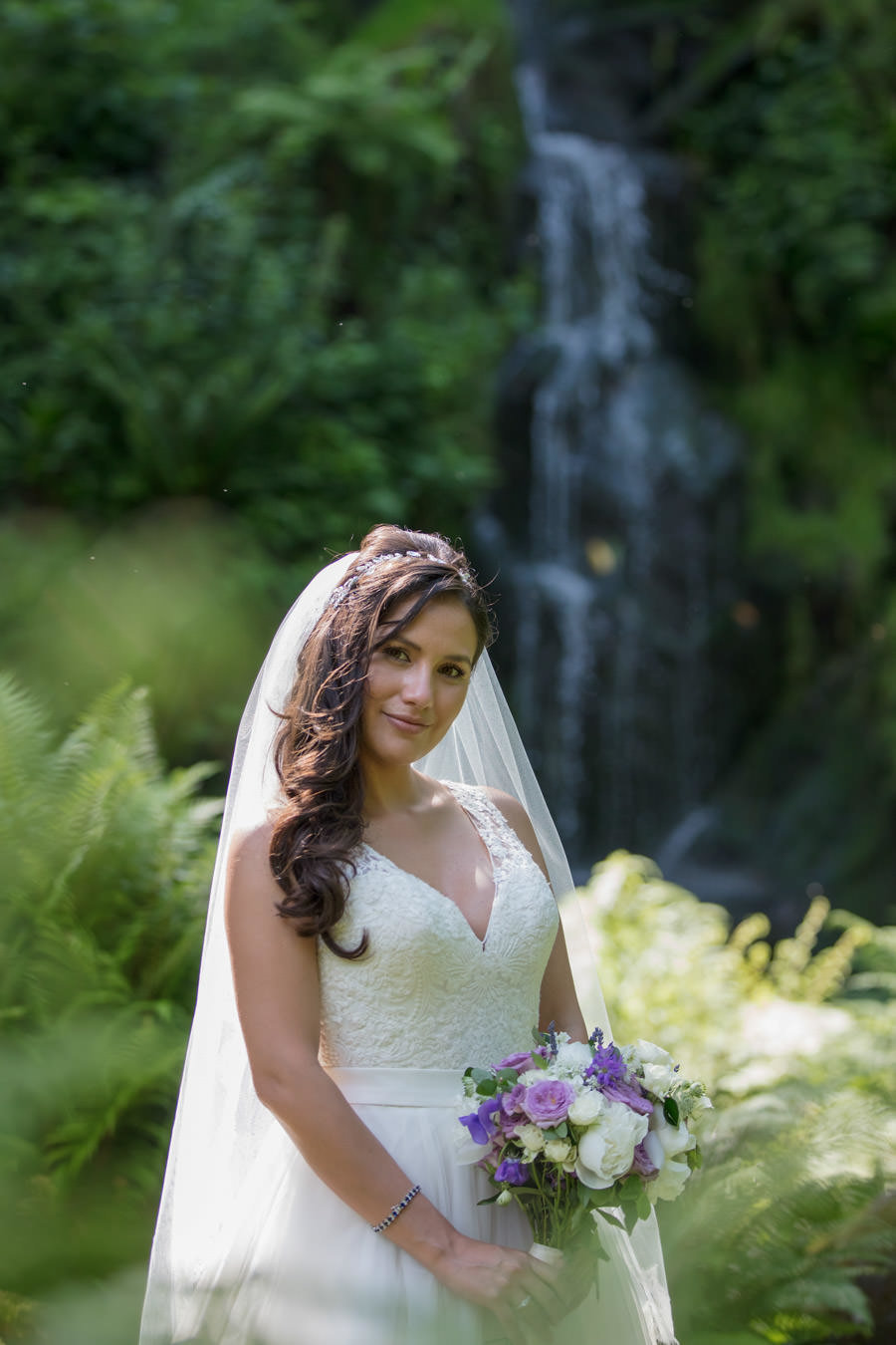 Brides portrait at Hestercombe Gardens cascade Somerset
