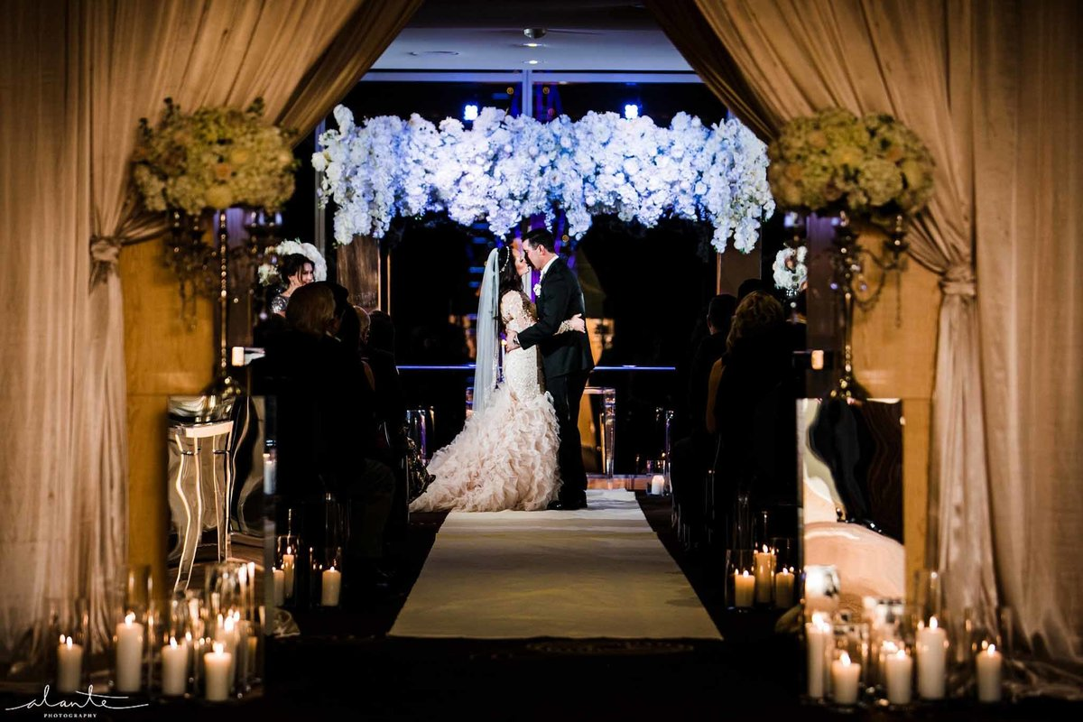 Romantic white wedding ceremony