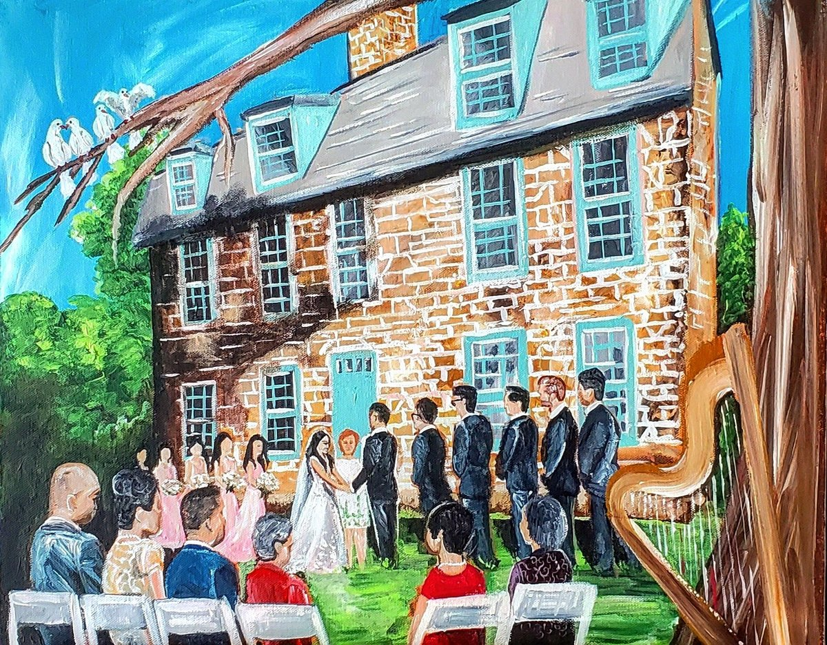 Live painting of a garden wedding ceremony at Graeme Park outside Philadelphia Pennsylvania