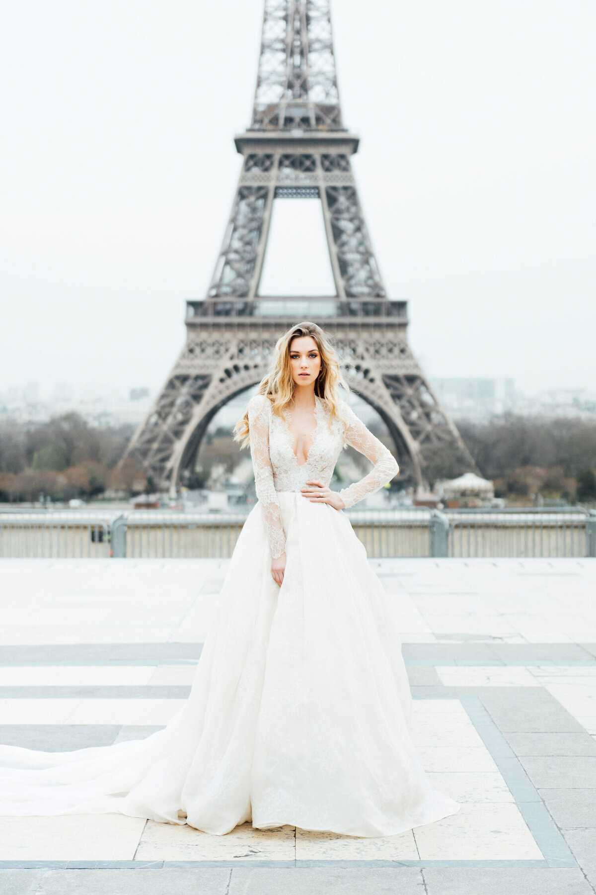 Katie Mitchell, Monique Lhuillier Bridal Paris France Wedding Trine Juel Hair and makeup