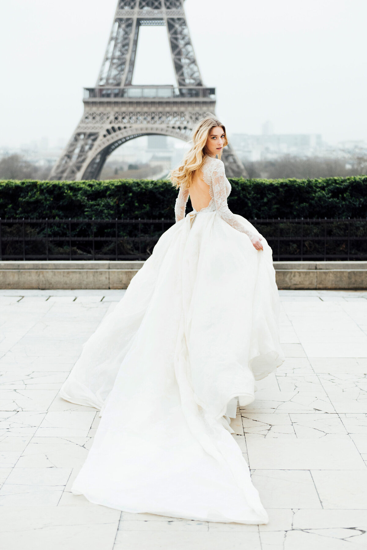 Katie Mitchell, Monique Lhuillier Bridal Paris France Wedding Trine Juel Hair and makeup 2