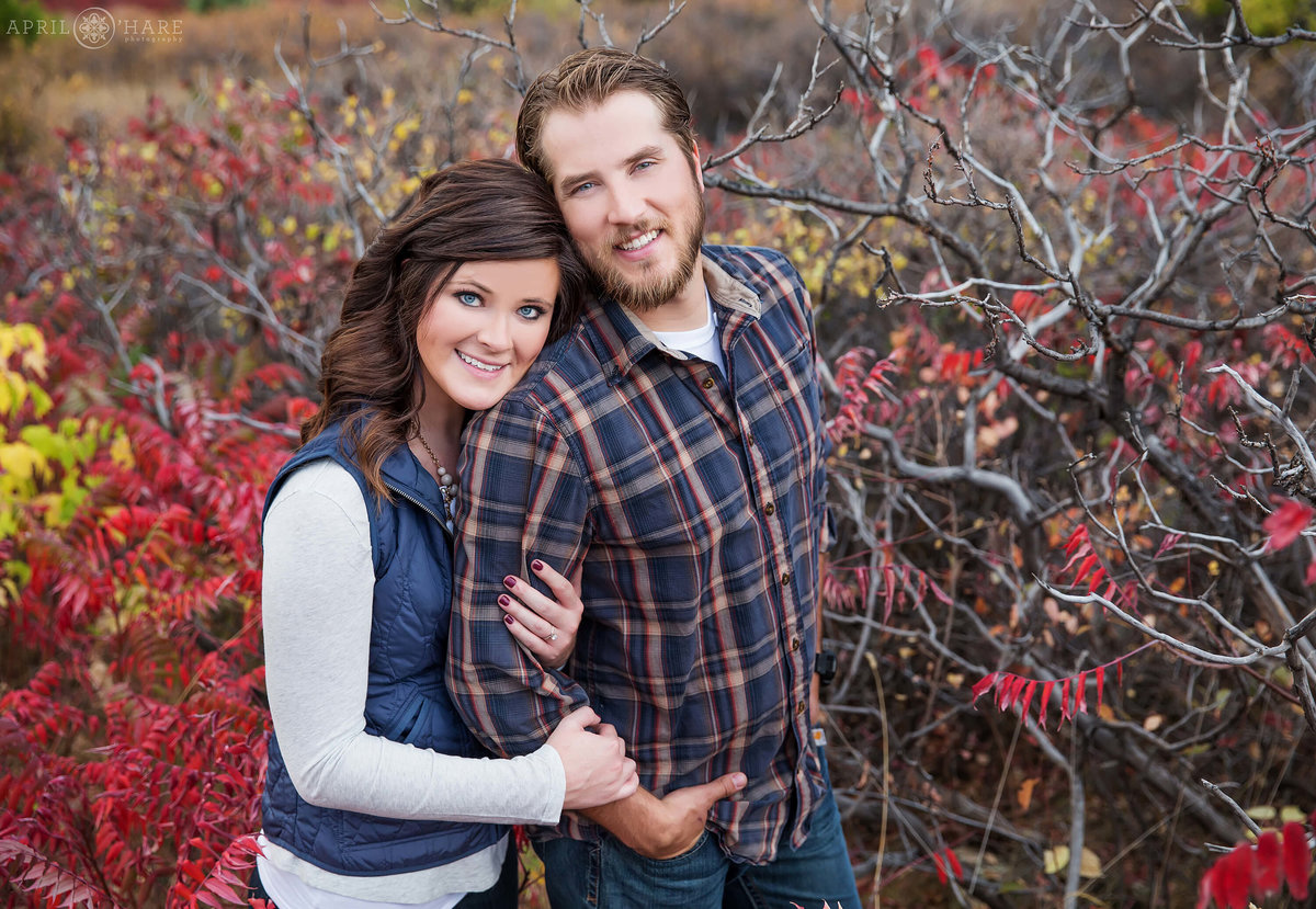Fall Color Engagement Photography in Boulder Colorado at South Mesa Trail