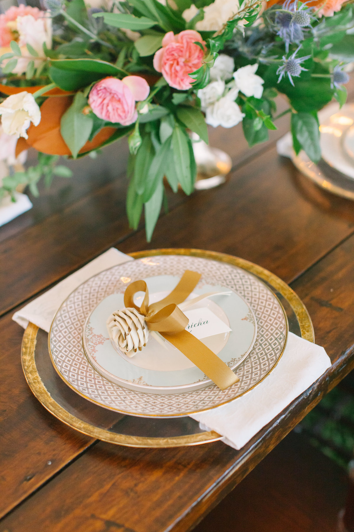 Charleston Wedding Place Setting Gold and Ivory Palmetto Rose Place Card  on Farm Table