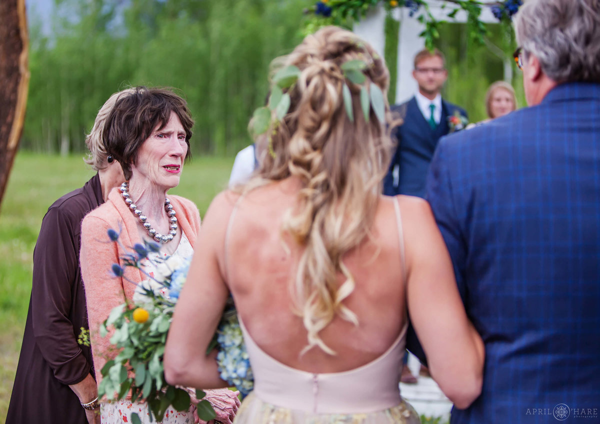 Emotional Wedding Ceremony Photography at B Lazy 2 Ranch in Grand County Colorado