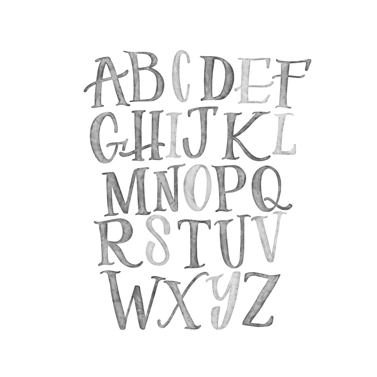 alphabet_BW watercolor