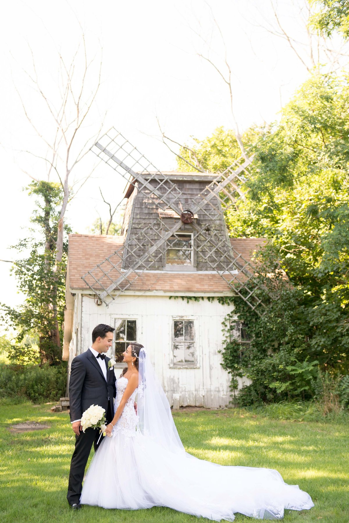 Bride and groom at the windmill