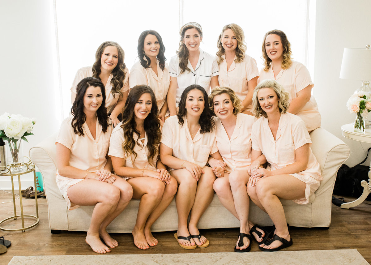 Bridal Party picture in matching pj sets