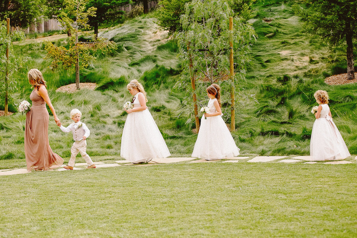 Flower girls and ringbearer at a wedding at Carmel Valley Ranch.